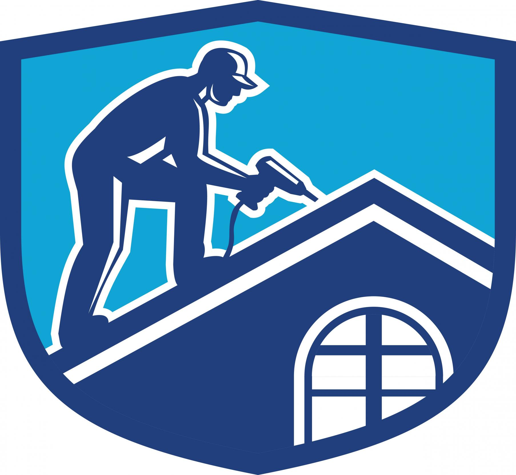 roofer doing roofing services logo